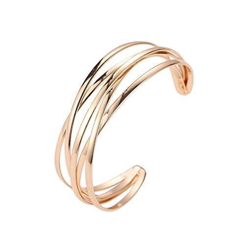 LPZW Hollow Pulseras de los brazaletes Gemelos Indios Moda geométrica Oro for Las Mujeres Ajustable Abierto Mujer Brazalete Pulsera de la joyería de Las Mujeres (Metal Color : 01KC Gold 10953)