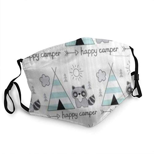 Face CO-VER Happy C-amper with Tent Raccoon Balaclava Anti-Dust Mouth Bandanas Camping Motorcycle Neck Gaiter for Teen Men Women