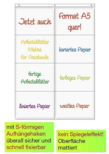 Hänge-Orga-Taschen A5, 8 Einstecktaschen Querformat, mit Haken - Maße: ca. ca. 46 x 67,5 cm - 10661