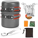 Conjunto de utensilios de cocina de camping Set de estufa de picnic Conjunto de cocinero al aire libre Picnic portátil ultraligero Pliegue de utensilios de cocina Pan 1-2 personas para cocinar naranja