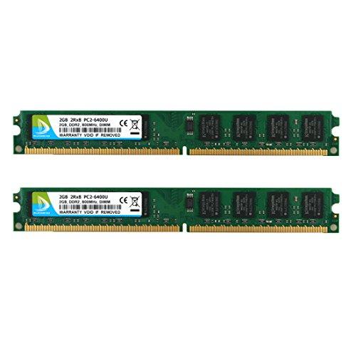 DUOMEIQI Kit de 4 GB (2 X 2 GB) 2RX8 DDR2 800MHz UDIMM PC2-6300 PC2-6400 PC2-6400U CL6 1.8v (240 Pin) Módulo RAM de Memoria...