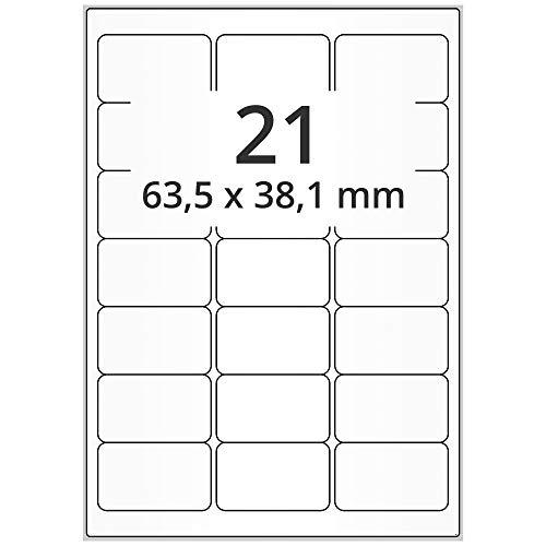 Labelident Laseretiketten selbstklebend auf DIN A4 Bogen - 64 x 38 mm - 10500 Universal Etiketten weiß, matt, 500 Blatt Papier Laserdrucker Etiketten