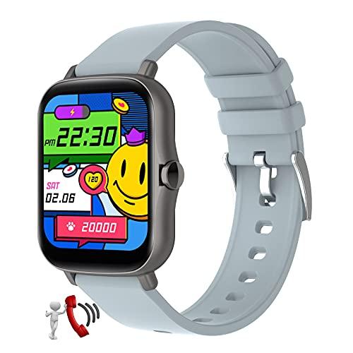 QFSLR Smartwatch, Reloj Inteligente con Llamada Bluetooth Monitor De Frecuencia Cardíaca Monitor De...