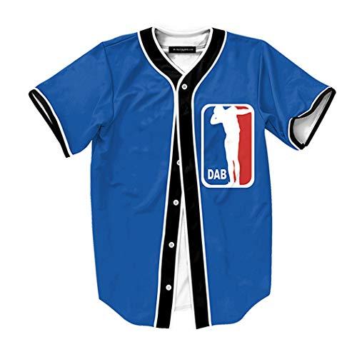 Raylans Camisa de béisbol casual para hombre con estampado floral 3D, de manga corta, con botones, Hombre, BRT-MC011-Color4-2XL, Color4, UK XL(Tag 2XL)