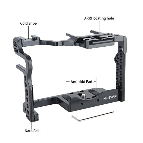NICEYRIG Camera Cage Kit with Cheese Top Handle Cold Shoe Mount NATO Rail Compatible with Panasonic Lumix GH5/ GH5s