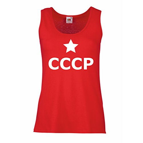 lepni.me Camisetas sin Mangas para Mujer URSS Star, СССР Rusia Vintage Diseño político Ruso (Large Rojo Blanco)