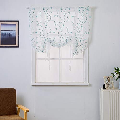 """XSlive Embroidered Tie Up Shade Curtain Sheer Rod Pocket Roman Curtain Kitchen Balloon Curtain Liftable Voile Floral Pattern Valance for Small Windows (46""""x63"""", Blue)"""