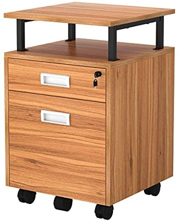 TOPSKY gift At the price of surprise 2 Drawers Wood Mobile File Cabinet with Lett Shelf for A4