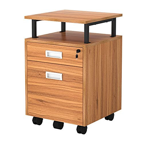 TOPSKY 2 Drawers Wood Mobile File Cabinet with Shelf for A4/Letter Size File Fully Assembled Except Shelf/Casters (Oak Brown)