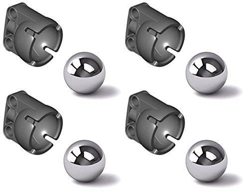 LEGO Technic NEW 4 STEEL PIVOT BALL + 4 STEERING JOINT SOCKET Caster chrome silver metal marble wheel 92911 99948