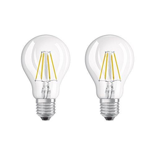 Osram LED Retrofit Classic A Lampw, in Kolbenform mit E27-Sockel, nicht dimmbar, Ersetzt 40 Watt, Filamentstil Klar, Warmweiß - 2700 Kelvin, 2er-Pack