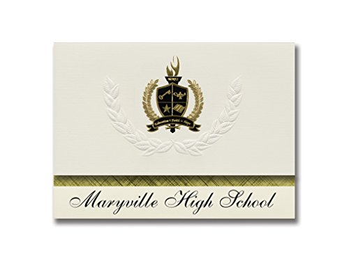 Signature Announcements Maryville High School (Maryville, MO) Graduation Announcements, Presidential style, Elite package of 25 with Gold & Black Metallic Foil seal -  Signature Announcements, Inc, ELITEPres_HS25_118189_206041