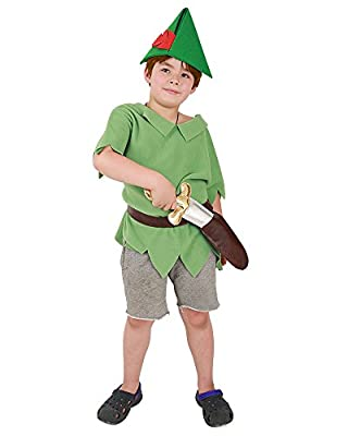 Coskidz Kids Peter Pan Cosplay Costume Including PU Sword and Hat (One Size) Green