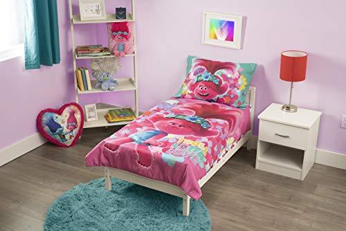 DreamWorks Trolls World Tour Lotta Love 4Piece Toddler Bedding Set, Pink