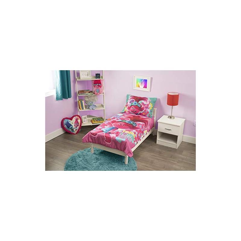 crib bedding and baby bedding dreamworks trolls world tour lotta love 4piece toddler bedding set, pink