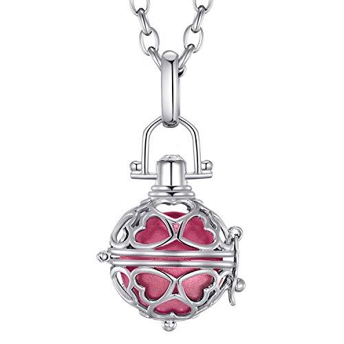 Morella® Damen Halskette Edelstahl 70 cm mit Herz-Kugel Anhänger und Klangkugel rosa Ø 16 mm in Schmuckbeutel