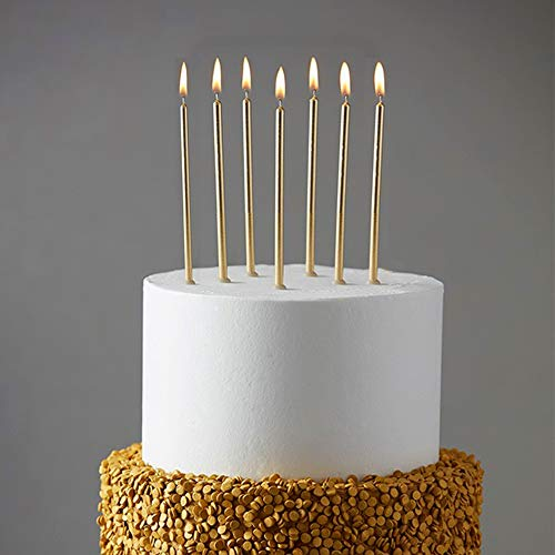 24 Count Party Long Thin Cake Candles Metallic Birthday Candles in Holders for Birthday Cakes Cupcake , Champagne Gold