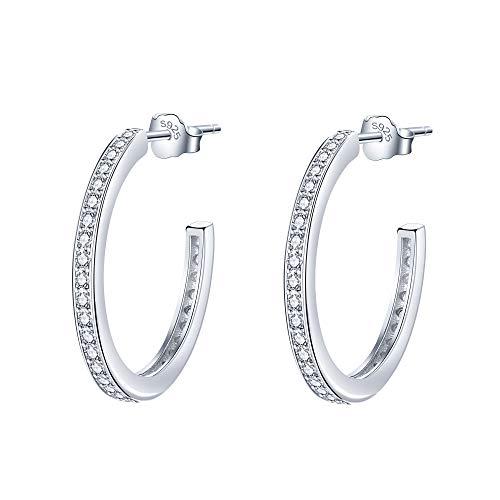 Lydreewam Creolen Silber 925 Damen Ohrringe mit 3A Cubic Zirkonia, Durchmesser 23mm