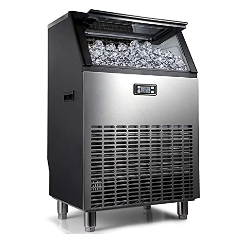 GTBF Intelligent Commercial Ice Maker, Large Ice Maker, Fast Ice Making, Large Output, High Configuration Compressor, Stainless Steel with LCD Display, Very Suitable for Restaurants, Bars, Cafes,55KG