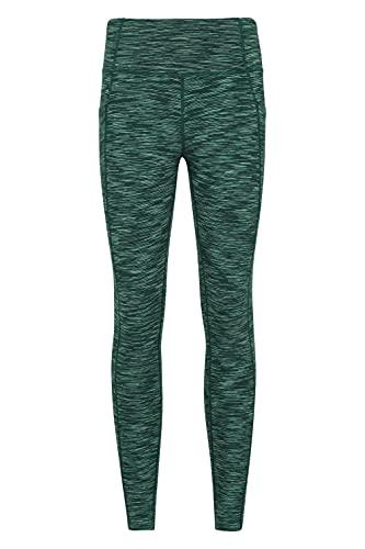 Mountain Warehouse Mallas Breathe & Balance de Cintura Alta para Mujer - Suaves, jaspeadas, largas y con Bolsillos - Ideales para Deportes, Gimnasio y Senderismo Verde Oscuro 40