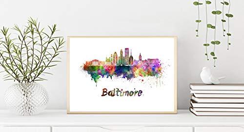 Baltimore V2 Skyline en Acuarela Papel Fotográfico DIN A2