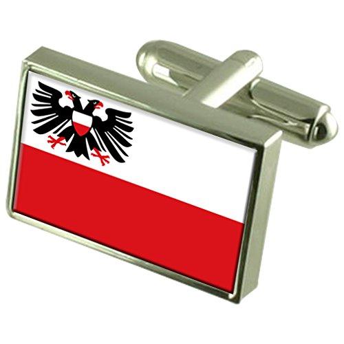 Select Gifts Stadt Lübeck Deutschland Fahne Manschettenknöpfe graviert Box