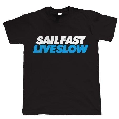 Vectorbomb - T-Shirt Hommes Manches Courtes Imprimé Sail Fast Live Slow - Noir, X-L