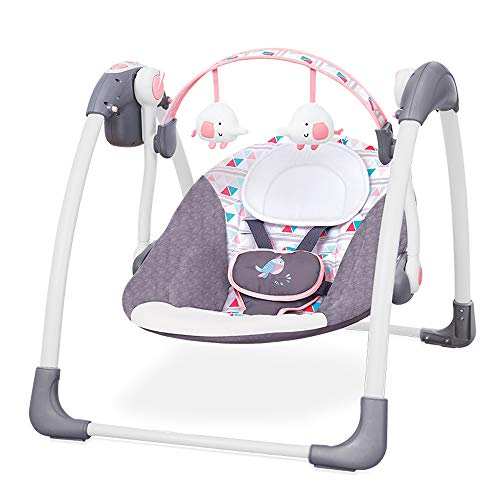 BAIDEFENG Electric Baby Swing, 7 Soft Melodies Infant Bouncer Chair and 3 Swinging Speed Suitable for Family and Outdoor Travel,Pink