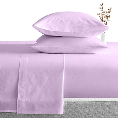 King Size Egyptian Cotton Sheets Luxury Soft 1000 Thread Count- Sheet Set for King Mattress Lilac Solid