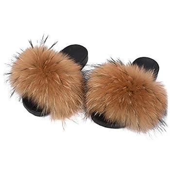 Valpeak Fur Slippers Slides For Women Open Toe Fuzzy Fur Slippers Girls Fluffy House Slides Outdoor  Natural,8-9