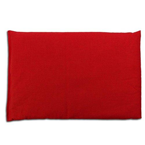 Traubenkernkissen 30 x 20 cm, Bio Stoff rot - Als Wärmekissen & Kältekissen - Körnerkissen für Mikrowelle und Backofen