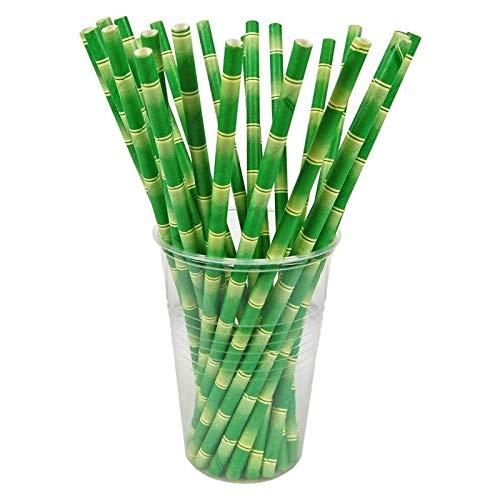 100 stuks. Papieren rietjes van papier, bamboe-look, Ø6mm, 21cm