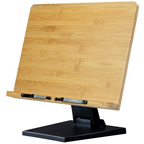 L.Y.F LAB ブックスタンド 書見台 読書台 本立て 木製 竹製 高さ調整可 角度調整可 卓上 勉強 コンパクト (黒, 39.0×27.8cm)
