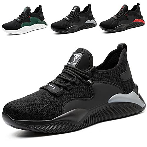 SROTER Zapatos de Seguridad para Hombre Mujer Puntas de Acero Antideslizantes Transpirables Anti-Piercing Zapatos de Trabajo Gris EU42 ✅
