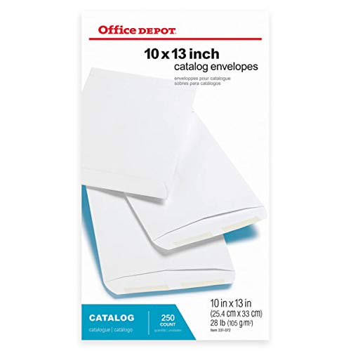 Office Depot Large Format Open-End White Envelopes, 10in. x 13in, Pack of 250, 77642