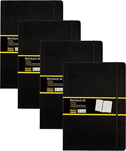 4 Stück Idena 209280 - Notizbuch DIN A4, 192 Seiten, 80 g/m², kariert, schwarz