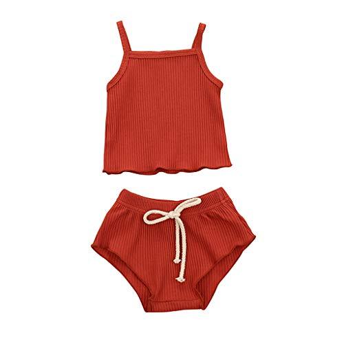 LEXUPE Neugeborene Baby Mädchen Jungen Strap Solid Weste Shorts Hosen Set Sommer Outfits(Orange,80)