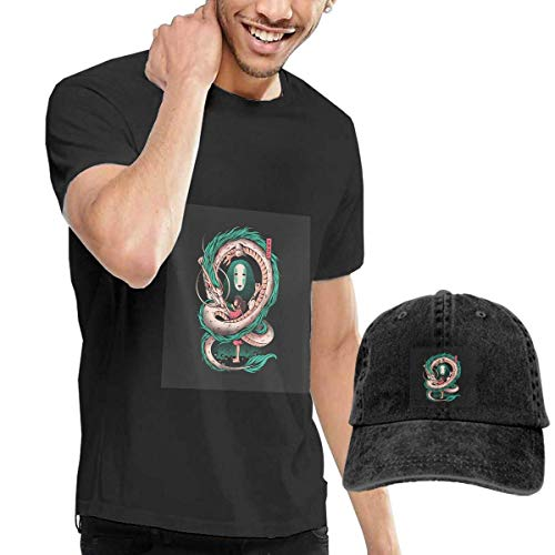 Baostic Camisetas y Tops Hombre Polos y Camisas, Spirited Away Art T-Shirts and Hats, Black Fashion Sport Casual T-Shirt + Cowboy Hat Set for Men
