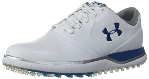 Under Armour Women's Performance Spikeless Golf Shoe, White (101)/Moroccan Blue, 7.5