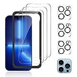 zoymick 6 Pack Cristal Templado Compatible con iPhone 13 Pro, 3 Pack Protector Pantalla y 3 Pack Protector de Lente de Cámara, Marco de Posicionamiento, Doble Protección, 9H Dureza Vidrio Templado