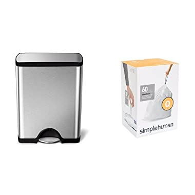 simplehuman 50 litre rectangular step can fingerprint-proof brushed stainless steel + code Q 60 pack liners
