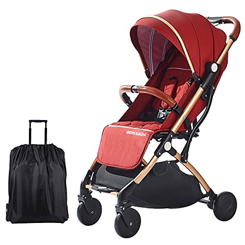 SONARIN Lightweight Stroller,Compact Travel Buggy,One Hand Foldable,Five-Point Harness,Great for Airplane(Dark Red)