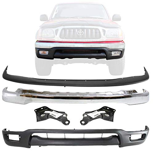 New Front Bumper Chrome Steel W/Upper Filler + Lower Valance + Brackets LH & RH Side For 2001-2004 Toyota Tacoma Pickup Truck Direct Replacement