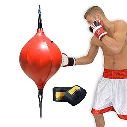 Double End Speed Ball Bag, Bokszak Met Vloer Tot Plafond Touw En Bandage, Mma Muay Thai Training Punching Dodge Striking Speed Ball Kit, Workout Verstelbaar Bungeekoord,Red