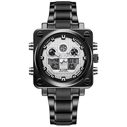 Moda Hombre Relojes Reloj de Pulsera de Cuero Reloj de Cuarzo analógico Impermeable-A