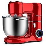Batidora amasadora Vospeed 1500W 8L batidora para reposteria de la torta del mezclador eléctrico de cocina batidora con tazón de acero inoxidable, batidor, gancho amasador (Red)
