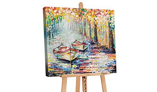 YS-Art Deluxe | Quadro Dipinto con Colori Acrilici Molo d'Autunno | Muro | Mano | Arte Moderna | Unico | Multicolore | PS 075