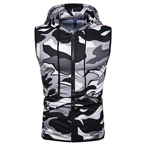 MENHG Mens Drawstring Camouflage Padded Gilet Water Resistant Rain Coat Microfibre Vest Body Warmer Hooded Sleeveless Reversible Jacket Full Zip Pullover Hoodies Slim Fit Puffer Tank Tops Shirts