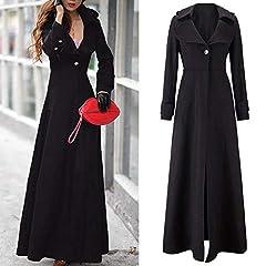 OYSOHE Clearence Womens Winter Lapel Slim Coat Trench Jacket Long Parka Overcoat Outwear Dress Black #3