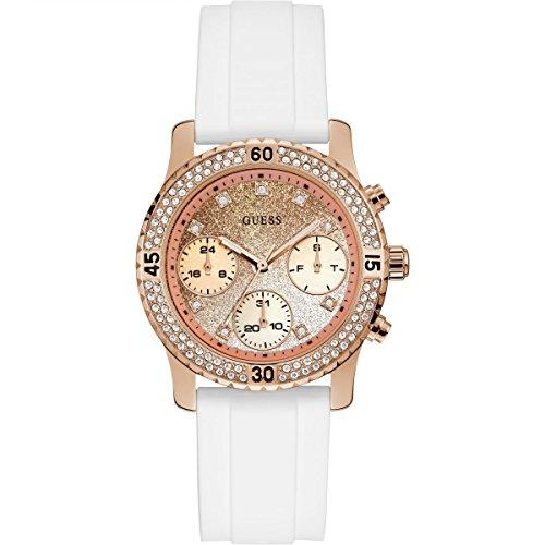 Guess Damen Analog Quarz Uhr mit Silikon Armband W1098L5